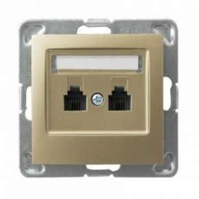 Równoległe złote podwójne gniazdo telefoniczne RJ11 GPT-2YR/m/28 IMPRESJA OSPEL