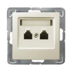 Podwójne równoległe telefoniczne gniazdo RJ11 ECRU GPT-2YR/m/27 IMPRESJA OSPEL
