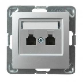 Podwójne srebrne gniazdo telefoniczne RJ11 GPT-2YN/m/18 IMPRESJA OSPEL