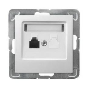 Pojedyncze białe gniazdo telefoniczne RJ11 GPT-1Y/m/00 IMPRESJA OSPEL