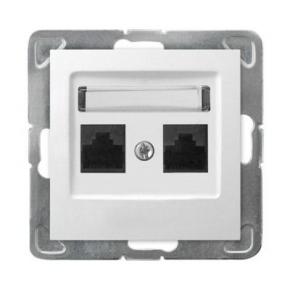 Podwójne białe gniazdo komputerowe RJ45 5e GPK-2Y/K/m/00 IMPRESJA OSPEL