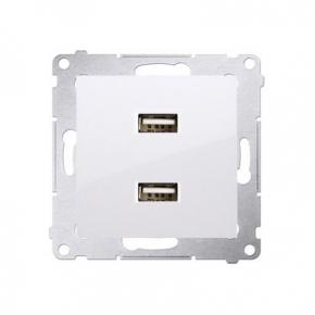 Gniazdo z ładowarką USB podwójne białe DC2USB.01/1 Simon 54 Kontakt-Simon