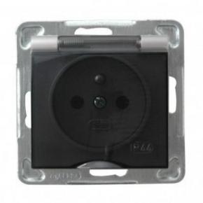 Srebrne gniazdo elektryczne do łazienki z uziemieniem IP44 GPH-1YZ/m/18/d IMPRESJA OSPEL