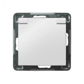 Białe gniazdo podtynkowe z klapką białą z uziemieniem GPH-1YZ/m/00/w IMPRESJA OSPEL