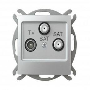 Srebrne gniazdo antenowe RTV z dwoma wyjściami SAT 1,5-dB GPA-Y2S/m/18 IMPRESJA OSPEL