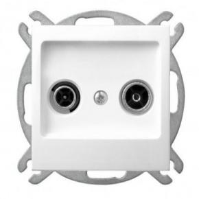 Białe gniazdo przelotowe RTV GPA-14YP/m/00 IMPRESJA OSPEL