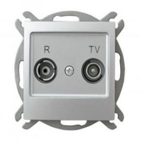 Srebrne gniazdo antenowe R-TV przelotowe GPA-10YP/m/18 IMPRESJA OSPEL