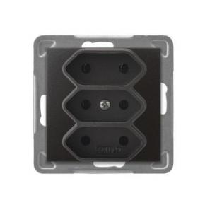Gniazda-potrojne-podtynkowe - potrójne antracytowe gniazdo elektryczne podtynkowe bez uziemienia gp-3y/m/50 impresja ospel