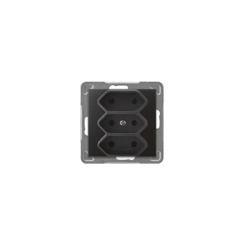 Gniazda-potrojne-podtynkowe - potrójne antracytowe gniazdo elektryczne podtynkowe bez uziemienia gp-3y/m/50 impresja ospel firmy OSPEL