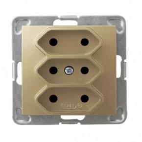 Potrójne złote gniazdo elektryczne podtynkowe bez uziemienia GP-3Y/m/28 IMPRESJA OSPEL