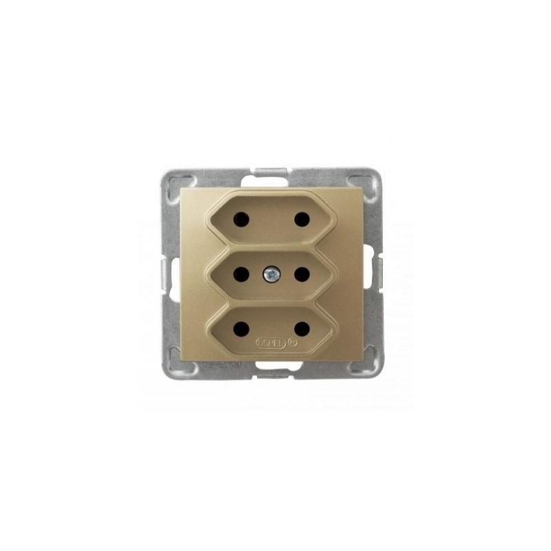 Gniazda-potrojne-podtynkowe - potrójne złote gniazdo elektryczne podtynkowe bez uziemienia gp-3y/m/28 impresja ospel firmy OSPEL