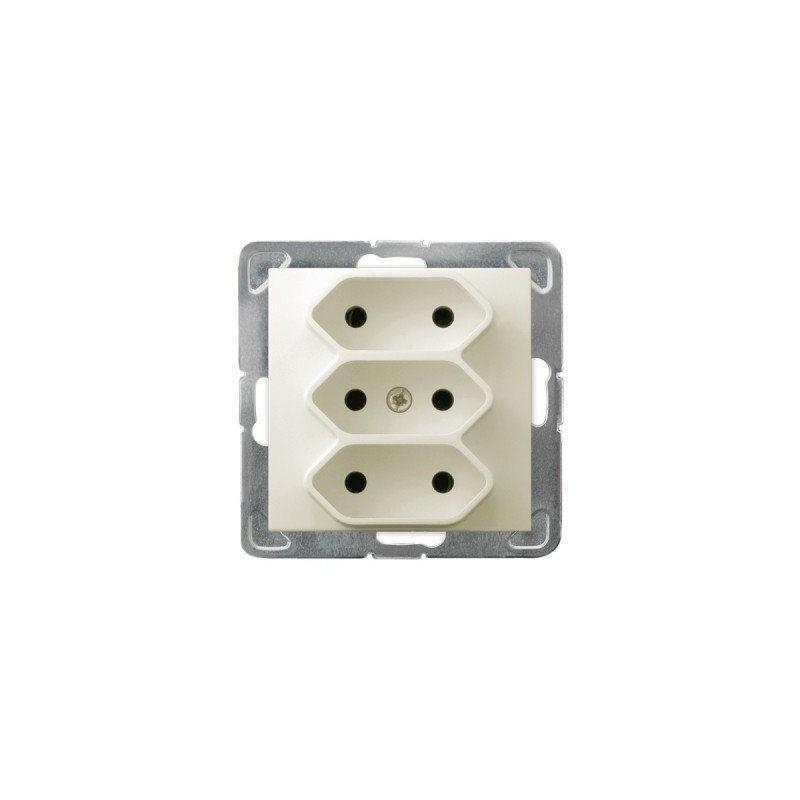 Gniazda-potrojne-podtynkowe - potrójne gniazdo elektryczne ecru podtynkowe bez uziemienia gp-3y/m/27 impresja ospel firmy OSPEL