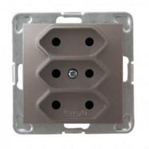 Potrójne tytanowe gniazdo elektryczne podtynkowe bez uziemienia GP-3Y/m/23 IMPRESJA OSPEL