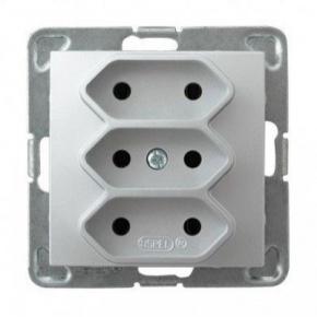 Potrójne srebrne gniazdo elektryczne podtynkowe bez uziemienia GP-3Y/m/18 IMPRESJA OSPEL