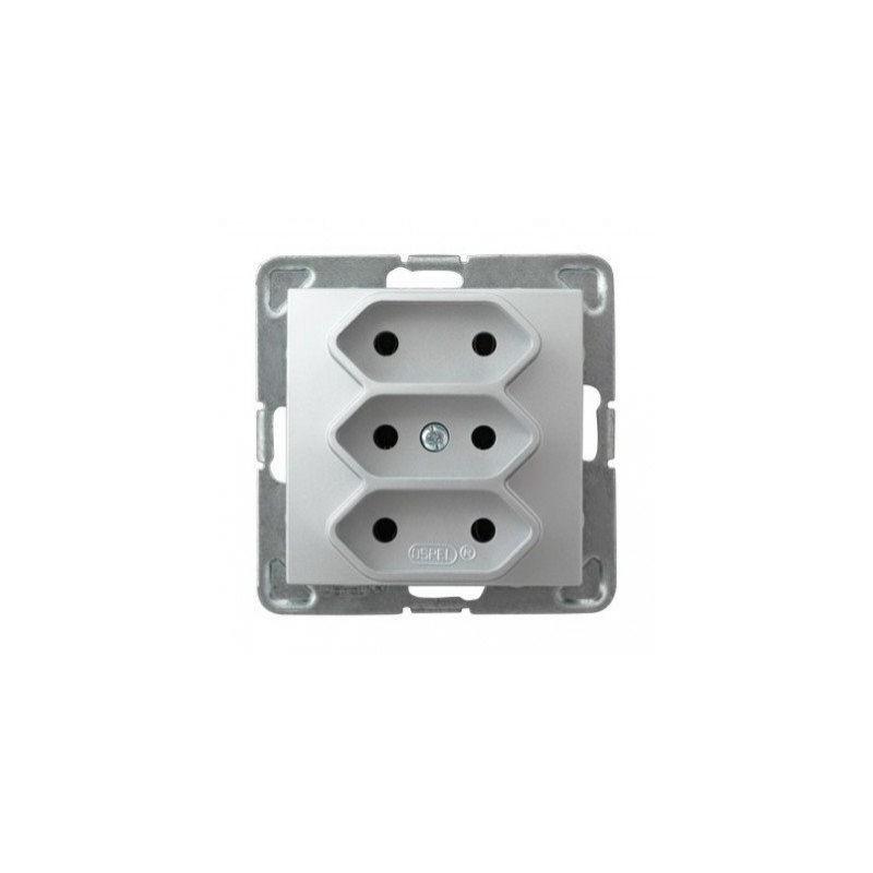 Gniazda-potrojne-podtynkowe - potrójne srebrne gniazdo elektryczne podtynkowe bez uziemienia gp-3y/m/18 impresja ospel firmy OSPEL