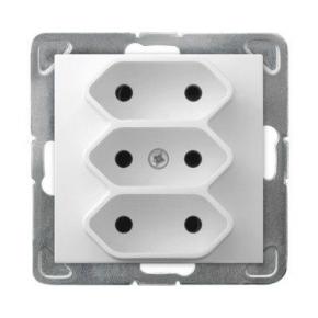 Potrójne białe gniazdo elektryczne bez uziemienia GP-3Y/m/00 IMPRESJA OSPEL