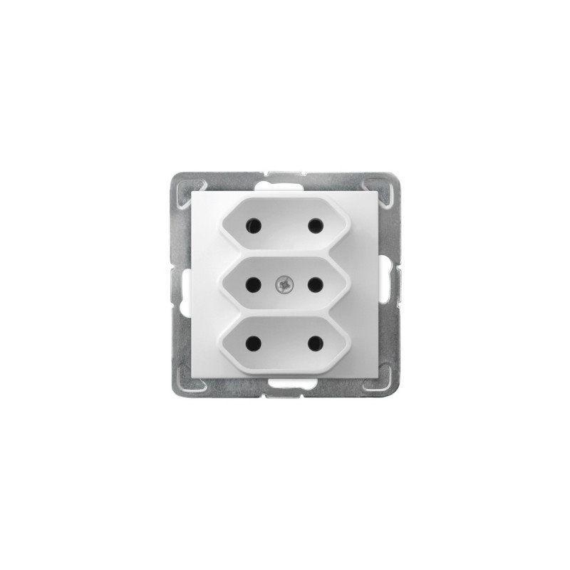 Gniazda-potrojne-podtynkowe - potrójne białe gniazdo elektryczne bez uziemienia gp-3y/m/00 impresja ospel firmy OSPEL