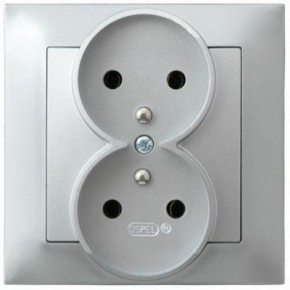 Podwójne srebrne gniazdo elektryczne podtynkowe z uziemieniem z ramką GP-2YZ/18 IMPRESJA OSPEL