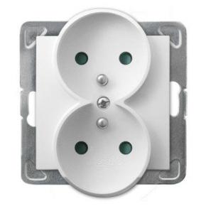 Podwójne białe gniazdo elektryczne z uziemieniem z przesłonami torów prądowych GP-2YRZP/m/00 IMPRESJA OSPEL