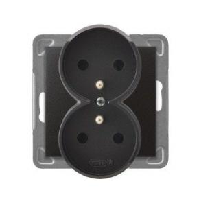 Podwójne antracytowe gniazdo elektryczne podtynkowe z uziemieniem GP-2YRZ/m/50 IMPRESJA OSPEL