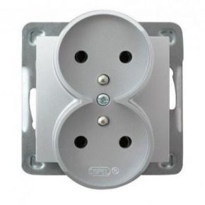 Podwójne srebrne gniazdo elektryczne podtynkowe z uziemieniem GP-2YRZ/m/18 IMPRESJA OSPEL