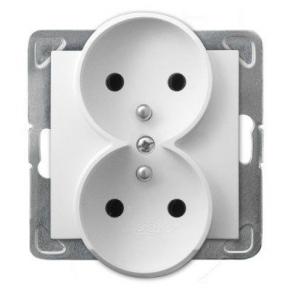 Podwójne białe gniazdo elektryczne podtynkowe z uziemieniem GP-2YRZ/m/00 IMPRESJA OSPEL