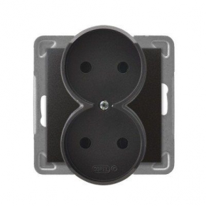 Podwójne antracytowe gniazdo elektryczne podtynkowe bez uziemienia GP-2YR/m/50 IMPRESJA OSPEL
