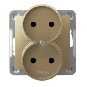 Podwójne złote gniazdo elektryczne podtynkowe bez uziemienia GP-2YR/m/28 IMPRESJA OSPEL