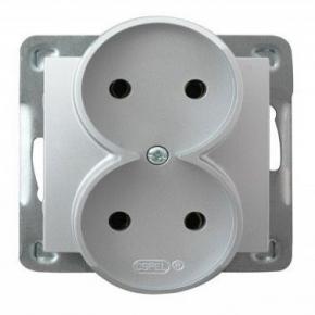 Podwójne srebrne gniazdo elektryczne podtynkowe bez uziemienia GP-2YR/m/18 IMPRESJA OSPEL