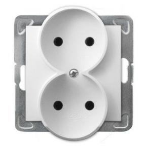 Podwójne białe gniazdo elektryczne podtynkowe bez uziemienia GP-2YR/m/00 IMPRESJA OSPEL