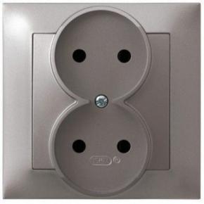 Podwójne tytanowe gniazdo elektryczne bez uziemienia GP-2Y/23 IMPRESJA OSPEL