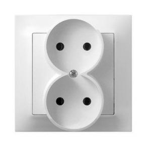 Podwójne białe gniazdo elektryczne podtynkowe bez uziemienia GP-2Y/00 IMPRESJA OSPEL