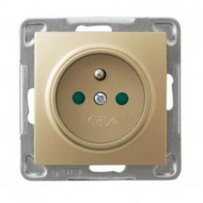 Pojedyncze złote gniazdo elektryczne  z uziemieniem z przesłonami GP-1YZP/m/28 IMPRESJA OSPEL