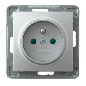 Srebrne gniazdo elektryczne podtynkowe z uziemieniem z przesłonami torów GP-1YZP/m/18 IMPRESJA OSPEL