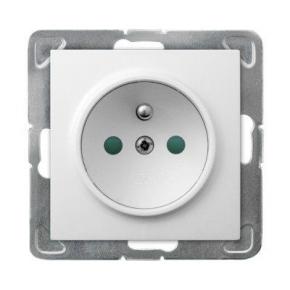 Białe gniazdo elektryczne pojedyncze podtynkowe z uziemieniem z przesłonami torów GP-1YZP/m/00 IMPRESJA OSPEL