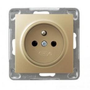 Pojedyncze złote gniazdo elektryczne z uziemieniem GP-1YZ/m/28 IMPRESJA OSPEL