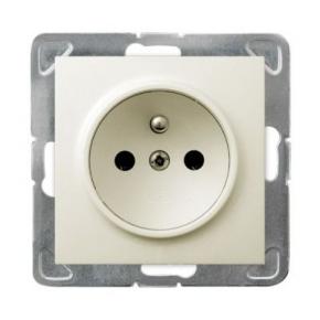 Pojedyncze gniazdo elektryczne podtynkowe z uziemieniem ECRU GP-1YZ/m/27 IMPRESJA OSPEL