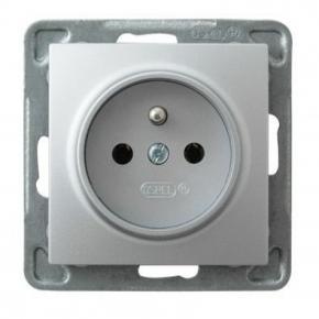 Srebrne gniazdo elektryczne pojedyncze z uziemieniem GP-1YZ/m/18 IMPRESJA OSPEL