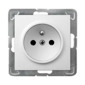 Białe gniazdo elektryczne podtynkowe z uziemieniem GP-1YZ/m/00 IMPRESJA OSPEL