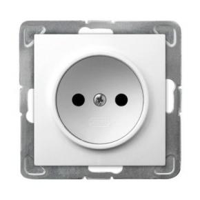 Białe pojedyncze gniazdo elektryczne GP-1Y/M/00 IMPRESJA OSPEL