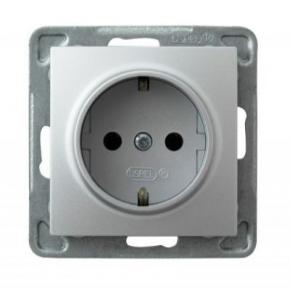 Srebrne gniazdo elektryczne pojedyncze z uziemieniem schuko GP-1YS/m/18 IMPRESJA OSPEL