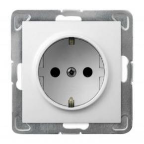 Białe gniazdo elektryczne pojedyncze z uziemieniem schuko GP-1YS/m/00 IMPRESJA OSPEL
