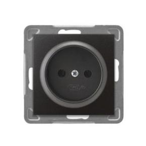 Pojedyncze gniazdo elektryczne podtynkowe bez uziemienia antracyt GP-1Y/M/50 IMPRESJA OSPEL