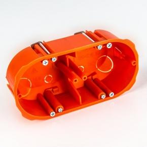 Puszka montażowa podwójna podtynkowa do ścian pustych 2x60 mm PK-2x60F ELEKTRO-PLAST