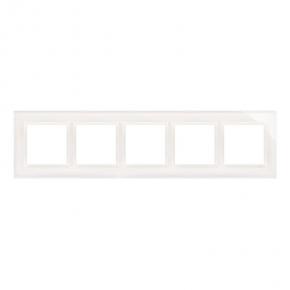 Ramka pięciokrotna szklana biała perła DRN5/70 Simon 54 Nature Kontakt-Simon