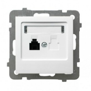 Białe gniazdo telefoniczne pojedyncze RJ11 GPT-1G/M/00 AS Ospel