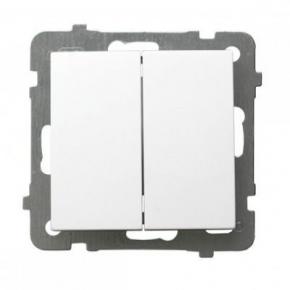 Biały włącznik schodowy + jednobiegunowy ŁP-9G/m/00 AS Ospel