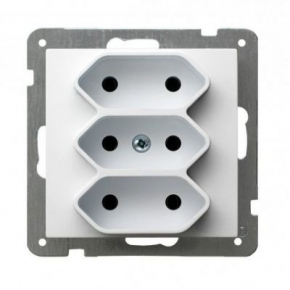 Białe gniazdo potrójne EURO GP-3G/m/00 AS Ospel