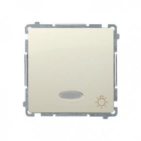 Beżowy przycisk zwierny typu światło z podświetleniem LED kolor niebieski BMS1L.01/12 Simon Basic Kontakt-Simon