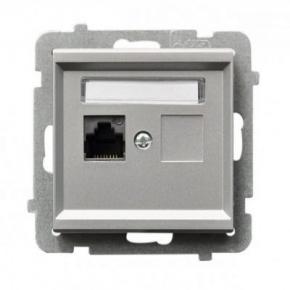 Gniazdo komputerowe pojedyncze RJ45 kat. 5e MMC GPK-1R/K/M/38 srebrne SONATA Ospel